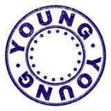Verbinding van de Grunge de Geweven JONGE Ronde Zegel stock illustratie