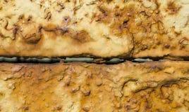 Verbinding van twee roestige metaalplaten Stock Fotografie