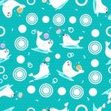 Verbindingen die met de plons van het ballenwater, naadloos patroonbeeldverhaal spelen vector illustratie