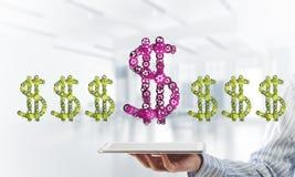 Verbindingen en voorzien van een netwerkconcepten als middelen van geld het verdienen op witte bureauachtergrond Royalty-vrije Stock Afbeeldingen