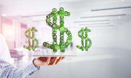 Verbindingen en voorzien van een netwerkconcepten als middelen van geld het verdienen op witte bureauachtergrond Stock Afbeelding