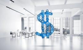 Verbindingen en voorzien van een netwerkconcepten als middelen van geld het verdienen op witte bureauachtergrond Royalty-vrije Stock Fotografie
