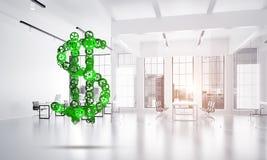 Verbindingen en voorzien van een netwerkconcepten als middelen van geld het verdienen op witte bureauachtergrond Stock Afbeeldingen