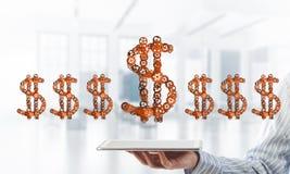 Verbindingen en voorzien van een netwerkconcepten als middelen van geld het verdienen op witte bureauachtergrond Royalty-vrije Stock Afbeelding