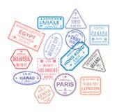 Verbindingen, van bezochte landen Malplaatjezegels, verbindingen Royalty-vrije Stock Afbeeldingen