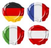 Verbindingen van de de vlagwas van Duitsland, Frankrijk, Italië, Oostenrijk de nationale royalty-vrije stock afbeelding