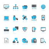 Verbindings, communicatie en netwerkpictogrammen vector illustratie