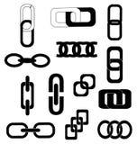 Verbindingsketen geplaatste pictogrammen Stock Foto's