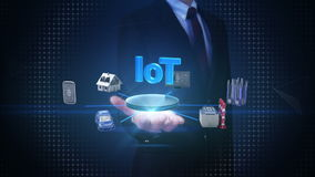 Verbindt de zakenman open palm, Slim huis, Fabriek, de Bouw, Auto, Mobiel, Internet-sensor ` Internet van dingen` technologie, ar