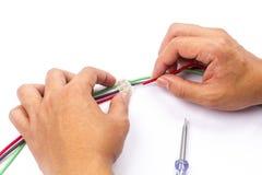 Verbindung des elektrischen Kabels Stockfotografie