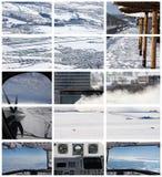 In Verbindung stehende Collage der Wintertransport-Luftfahrt lizenzfreie stockfotos