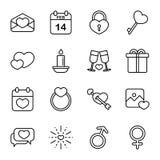 In Verbindung stehende Ikone des glücklichen Valentinstags im weißen Hintergrund Lizenzfreies Stockbild