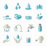 In Verbindung stehende Ikonen des Wassers Stockfotos