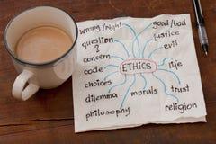 In Verbindung stehende Themen der Ethik Stockbild