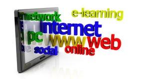 in Verbindung stehende Wörter des PC und des Internets der Tablette 3d Stockfotos