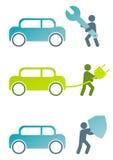 In Verbindung stehende Zeichen des modernen Autos Lizenzfreies Stockfoto