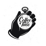 In Verbindung stehendes kreatives einfarbiges Plakat des Kaffees Taschenuhr mit Phrase Kaffee und mehr Vektorweinleseillustration Lizenzfreie Stockbilder
