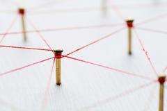 Verbindung von Wesen Netz, Vernetzung, Social Media, Zusammenhang, Internet-Kommunikationszusammenfassung Netz des dünnen Threads Stockbild