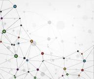 Verbindungen des globalen Netzwerks mit Punkten und Linien Abstrakter Technologie-Hintergrund Molekülstruktur mit verbundenen Pun Lizenzfreies Stockfoto