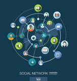 Verbindungskonzept des Sozialen Netzes Abstrakter Hintergrund mit integrierten Kreisen und Ikonen für digitales, Internet, Medien Lizenzfreie Stockfotos
