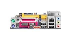 Verbindungsstück des Computermotherboards Stockfotos
