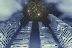 Verbindungstechnologie-Hintergrundkonzept Hohes modernes Gebäude ich lizenzfreies stockfoto