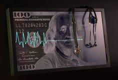 Verblassendes Kardiogramm und Stethoskop vor dem hintergrund Stockfoto