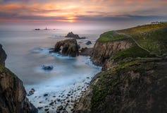 Verblassendes Licht, Land's End, Cornwall lizenzfreie stockbilder