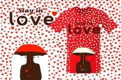 Verblijf in liefde, t-shirtontwerp, modern drukgebruik voor sweatshirts, herinneringen en ander gebruik, vectorillustratie Stock Afbeelding