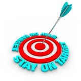 Verblijf op Doel - Pijl en Rode Ringen Royalty-vrije Stock Afbeelding