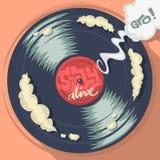 Verblijfs Levend Bericht op het Vinylverslagetiket Vectorbeeldverhaalcom Royalty-vrije Stock Afbeelding