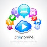 Verblijfs online vectoraffiche Stock Afbeeldingen