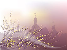 Verbochka  church. Spring background with pussy-willow and orthodox churches outline Stock Photography