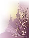 Verbochka  church. Spring background with pussy-willow and orthodox churches outline Royalty Free Stock Photo