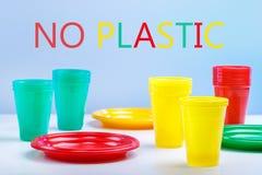 Verbod op plastic schotels royalty-vrije stock foto
