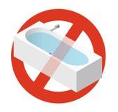Verbod van badkuip met water wordt gevuld dat Het strikte verbod bij het construeren van badton, verbiedt stock illustratie