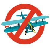Verbod van tweedekker Het strikte verbod bij de bouw van vliegtuigen, verbiedt Eindewereldoorlog Oude retro vector geïsoleerde vl vector illustratie