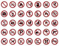 Verbod 35 & Waarschuwingsborden - Iconset stock illustratie