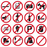 Verboden Geplaatste Pictogrammen Stock Foto