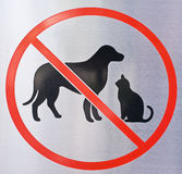 Verboden Hond & Cat Sign Stock Foto