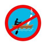 Verboden om op boot te roken Rood teken die het roken belemmeren Stock Afbeelding