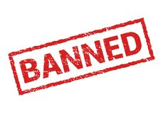 Verboden rubber geïsoleerde zegel Vectorsticker verboden verbodsteken Beperkt of annuleer ontwerpsymbool Royalty-vrije Stock Foto