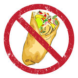 Verboden Shawarma Stock Afbeelding