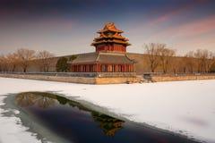 Verboden Stad en sneeuw, Peking stock afbeelding