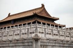 Verboden Stad Gugong in Peking, China Weergeven op Paviljoen stock foto's