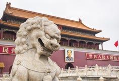 Verboden stadspoort met een portret van Mao Tse-Tung, Peking, China royalty-vrije stock afbeelding