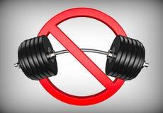 Verboden teken met barbell of domoor Bodybuilding, de GYMNASTIEK en het gewichtheffen zijn belemmerd Stock Afbeeldingen