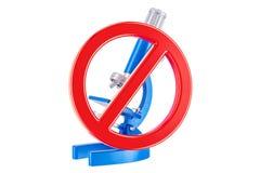 Verboden teken met microscoop, het 3D teruggeven Royalty-vrije Stock Fotografie