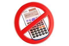 Verboden teken met wetenschappelijke calculator, het 3D teruggeven Stock Afbeeldingen