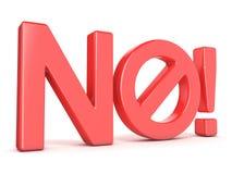 Verboden tekenconcept Word nr met belemmerd symbool 3d geef terug Royalty-vrije Stock Foto's